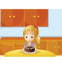 A girl blowing her cake vector