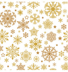 a golden snowflakes seamless pattern xmas vector image