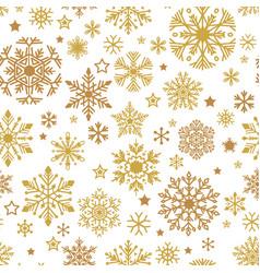 A golden snowflakes seamless pattern xmas vector