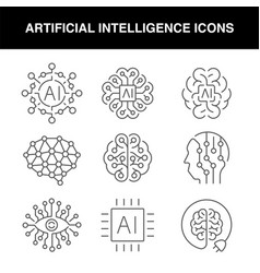 a set line artificial intelligence icons vector image