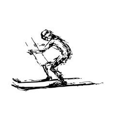 abstract hand drawing of a skiing man vector image