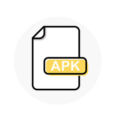 apk file format extension color line icon vector image