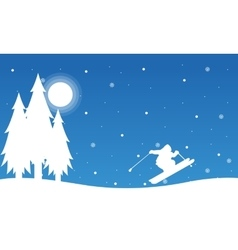 At night people skiing landscape Christmas vector image