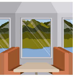 Background interior train with a passenger vector