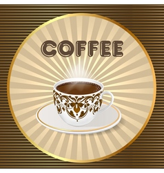 Background with a fresh Cup of aromatic coffee vector
