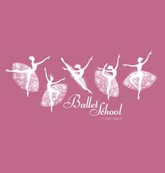 ballerina silhouettes set dancing girls classic vector image