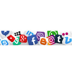 Banner social media icons vector