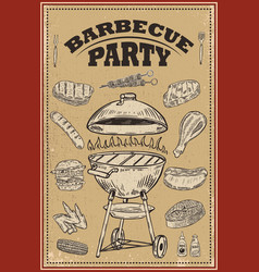 bbq party poster with hand drawn design elements vector image