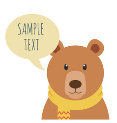 bear with sample text bubble speech vector image