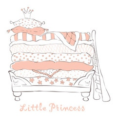 Bed for the little Princess on the pea vector image