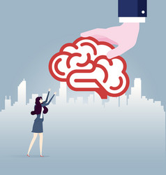 Big hand gives idea brain to businesswoman vector