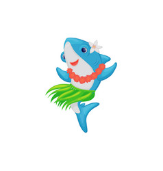 blue shark dancing in hawaiian girls costume a vector image