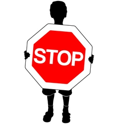 boy with stop sign vector image