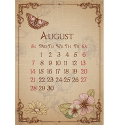 Butterfly and floral calendar design vector