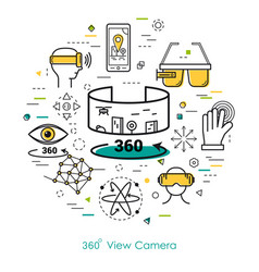 Camera view 360 - line art vector