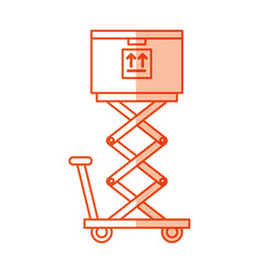 Cart lifting with box carton delivery icon vector
