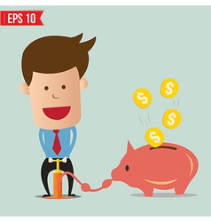 Cartoon Business man pump money - - EPS10 vector image