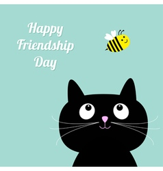 Cat and bee Happy friendship day Flat vector
