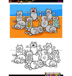 Cats characters group coloring book vector
