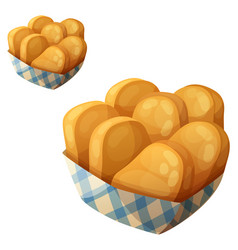 Chicken nuggets in the paper basket icon vector