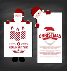 christmas invitations card with santa clause and vector image