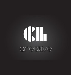Cl c l letter logo design with white and black vector