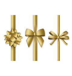 collection decorative golden bows with vertical vector image