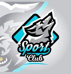 colorful logo emblem a wolf howling at moon vector image
