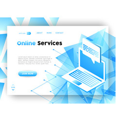 Computer data business app web landing page vector