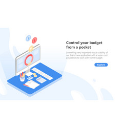 Computer with application for budget planning vector
