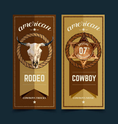 Cowboy flyer design with cow skull badge rope vector