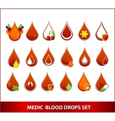 creative medic blood drops symbols set vector image