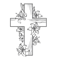 Cross with white lilies vector