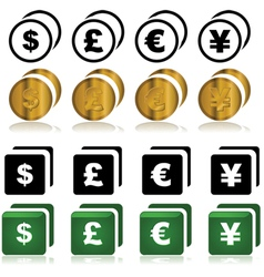 Currency icons vector image