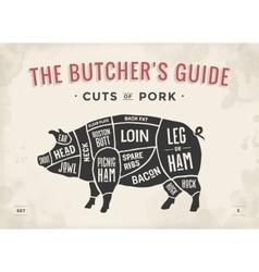 Cut meat set poster butcher diagram scheme vector