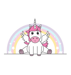 Cute unicorn with wings sitting isolated vector