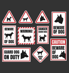 danger dog signs beware of dog vector image