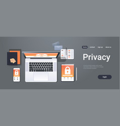 data protection internet security padlock privacy vector image