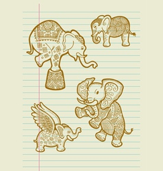 Decorative Elephant Sketches vector image