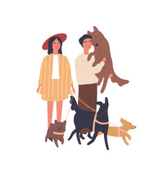 Dog lovers couple flat young vector