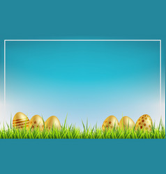 easter sale background golden easter eggs on a vector image
