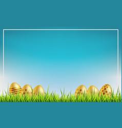 easter sale background golden easter eggs on a vector image