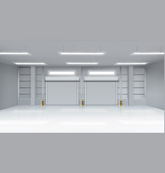 Empty warehouse interior with shatter roll gates vector