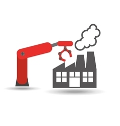 factory and robotic arm vector image