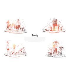 family - parents and children walking and vector image