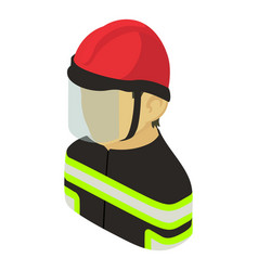 firefighter man asian icon isometric 3d style vector image
