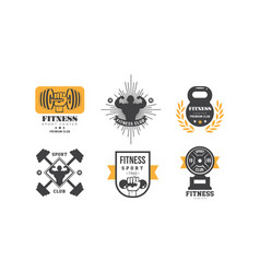 fitness club logo design set retro emblem vector image