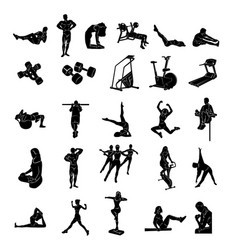 fitness people silhoulette vector image