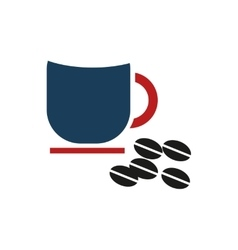 Flat icon on white background cup coffee beans vector