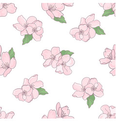 Floral fabric sakura seamless pattern illus vector